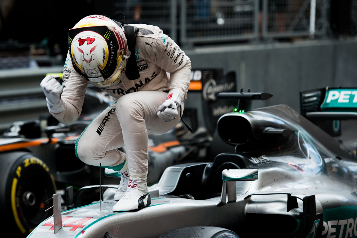 May 25-29, 2016: Monaco Grand Prix. Lewis Hamilton (GBR), Mercedes celebrates winning the Monaco Grand Prix