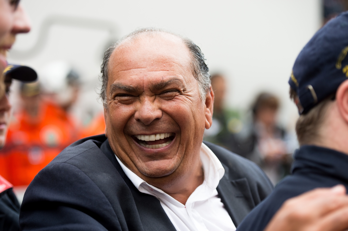 May 25-29, 2016: Monaco Grand Prix. Sergio Perez's dad celebrates